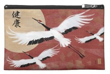 Flying cranes cosmetic travel accessory makeup bag