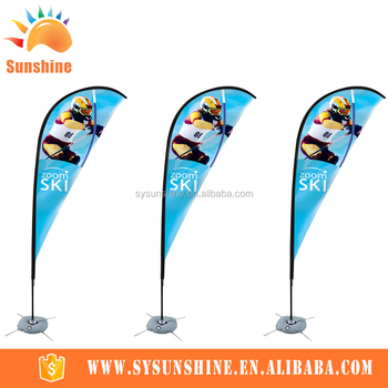 Custom Advertising Outdoor Flying Feather Teardrop flag pole and beach flag banner
