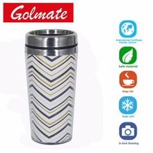 400ml double wall DIY travel mug with changing paper insert travel tumbler