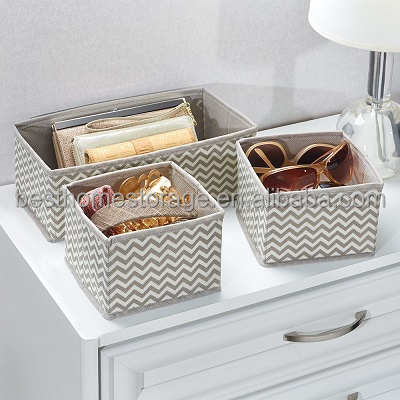 Set Of 3 Foldable PP Non-woven Fabric Box Drawer Dividers For Underwear,Socks,(Chevron Gray)