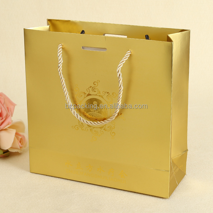 custom design gold colour shape paper shopping bag for everyday paper bags
