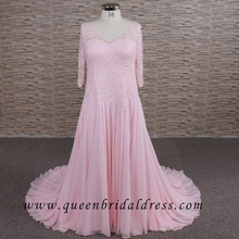 Big size muslim beaded pink chiffon dubai A line wedding dress