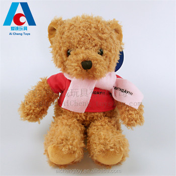 personalized plush toys custom teddy bear with t shirts/OEM plush teddy bear with T shirt with logo printing