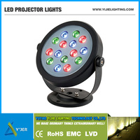 YJB-0003 IP65 RGB high power 12 volt 15 watt round projector led flood light
