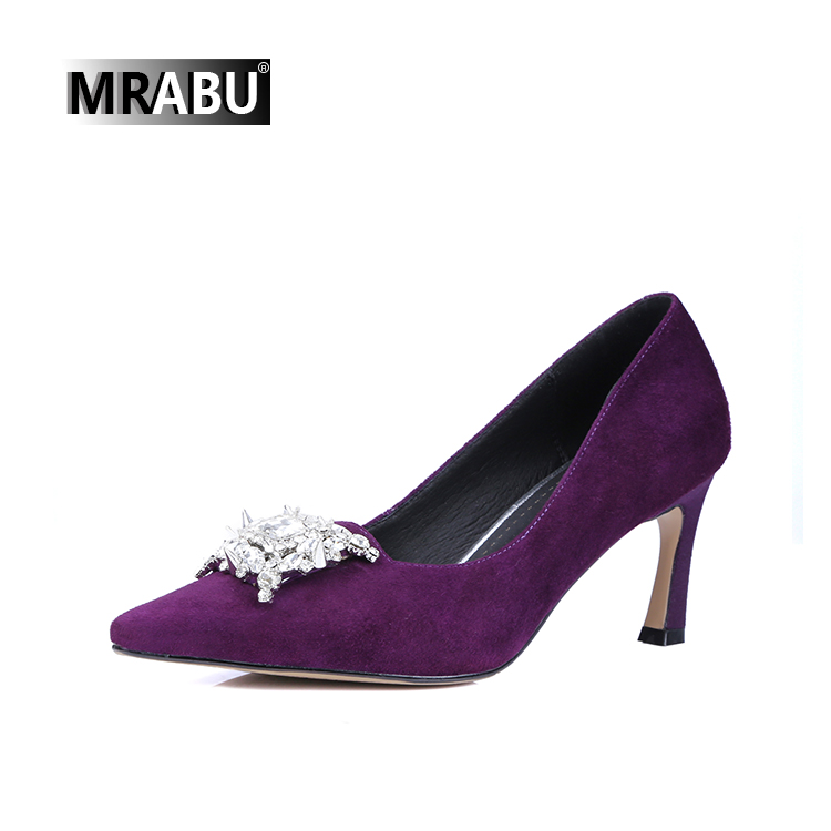 china brand factory purple designer high heel shoes women luxury 2017with crystal adornment