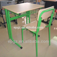 Popular and Cheap steel frame green single student table and chair from school table chair factory