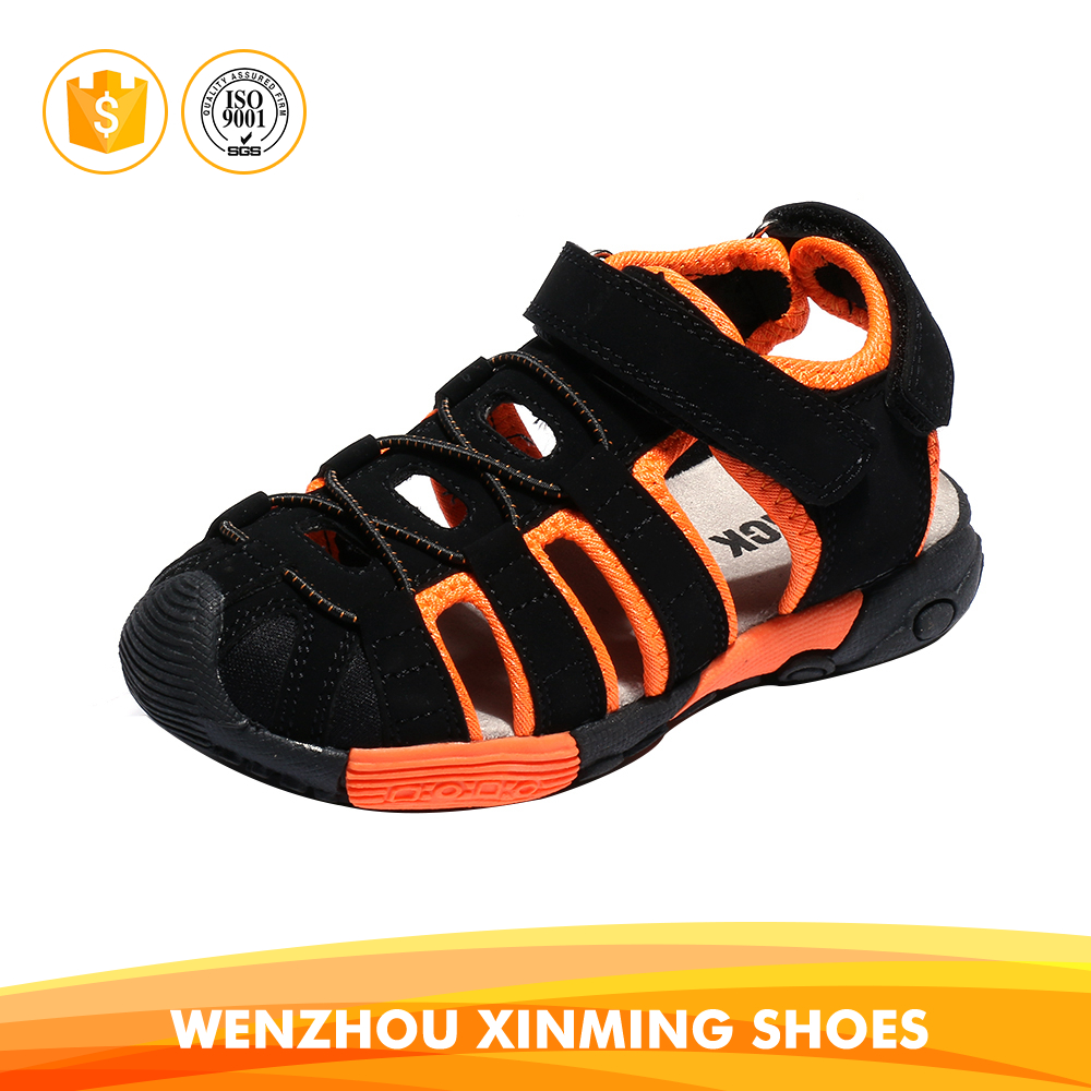 Hot sale new design no heel flat black orange boy <strong>sandals</strong> for children kids