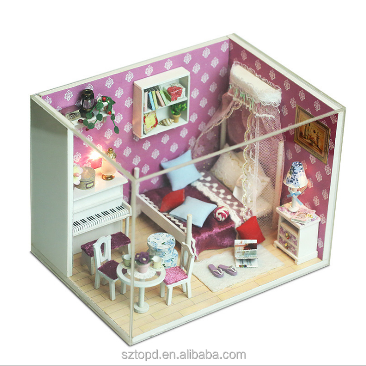 2017 New Coming DIY Wood Doll House Do It By Yourself, Miniature Dollhouse 3D Puzzle Educational Toys for Children
