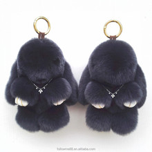 Adorable bunny patten fur car accessory real rex rabbit fur keychains Top grade fur bunny bag charm 10A3