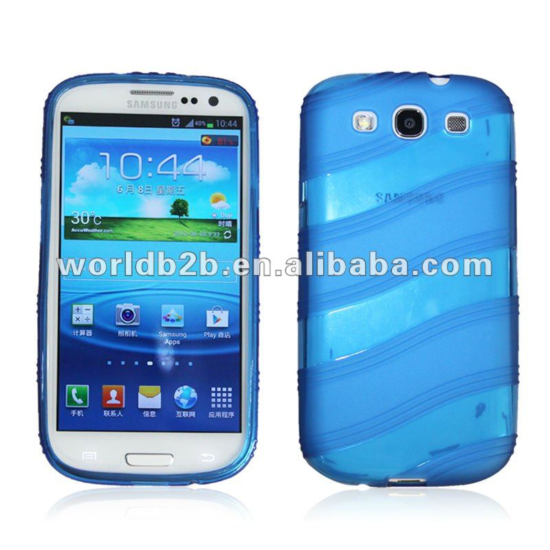 TPU cases for samsung galaxy s3 i9300, Wave line TPU gel