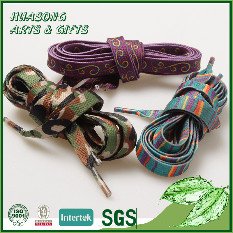 Cheap custom printed flat wholesale shoe lace manufacturing
