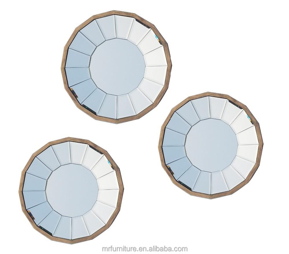 Round Wall Mirror Dislay Mirrored Tray Art Set Of 3 Buy