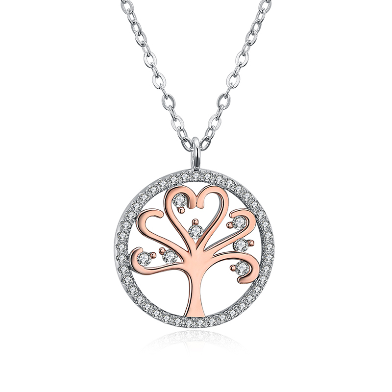 Hot sale <strong>fashion</strong> two tone plating copper brass tree of life necklace