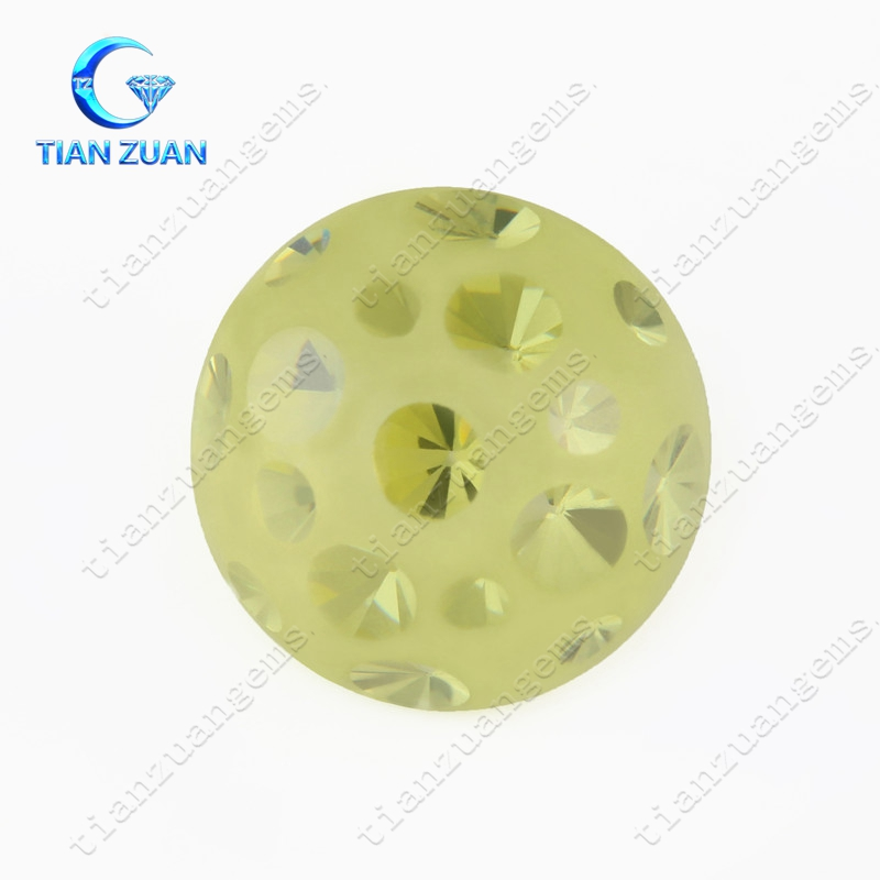 Machine cut round shape multi colored Cubic Zirconia gemstone for jewelry making