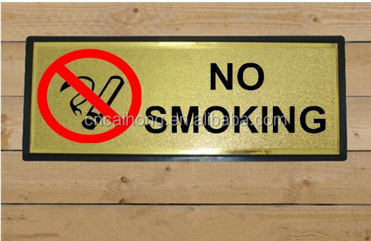 golden foil no smoking sign board