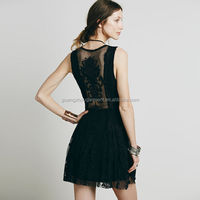 Sexy Women Crochet Lace Hollow Dress Deep V Neck See Through Party Cocktail Mini dress