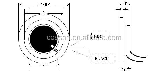 50mm Piezo Element with PVC