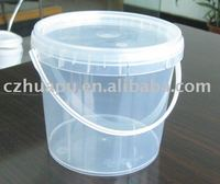 1 liter plastic clear/transparent bucket/pail with lid and handle in China