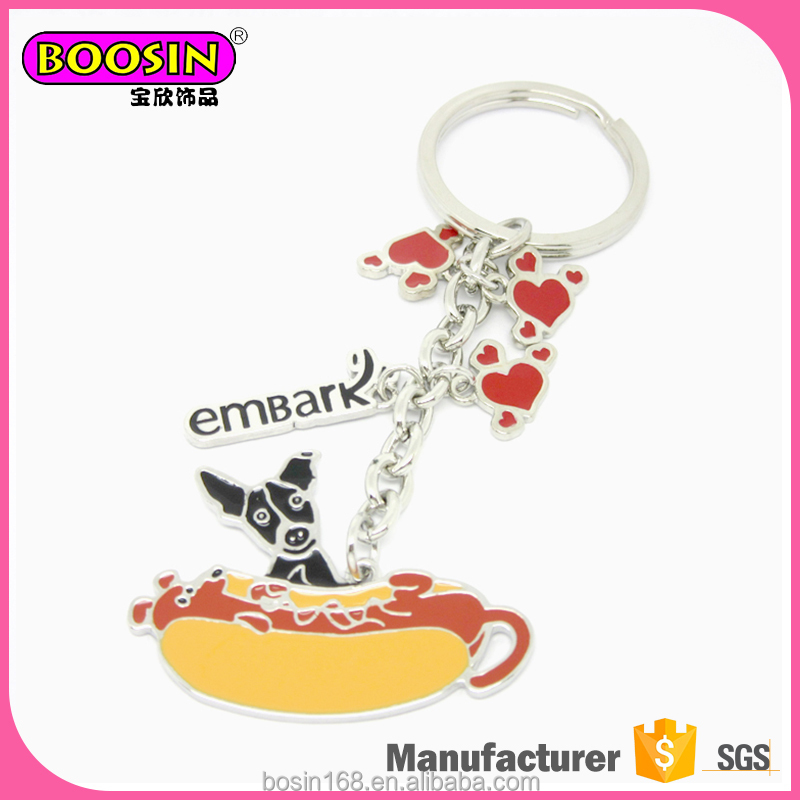 Trending design factory direct sale cute dog shape metal keychain animal dog