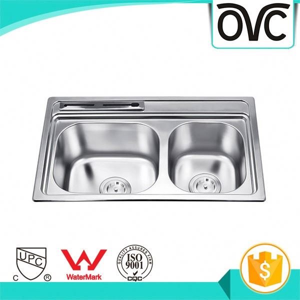 Discount stylish large size double bowls stainless steel kitchen sink with drain board