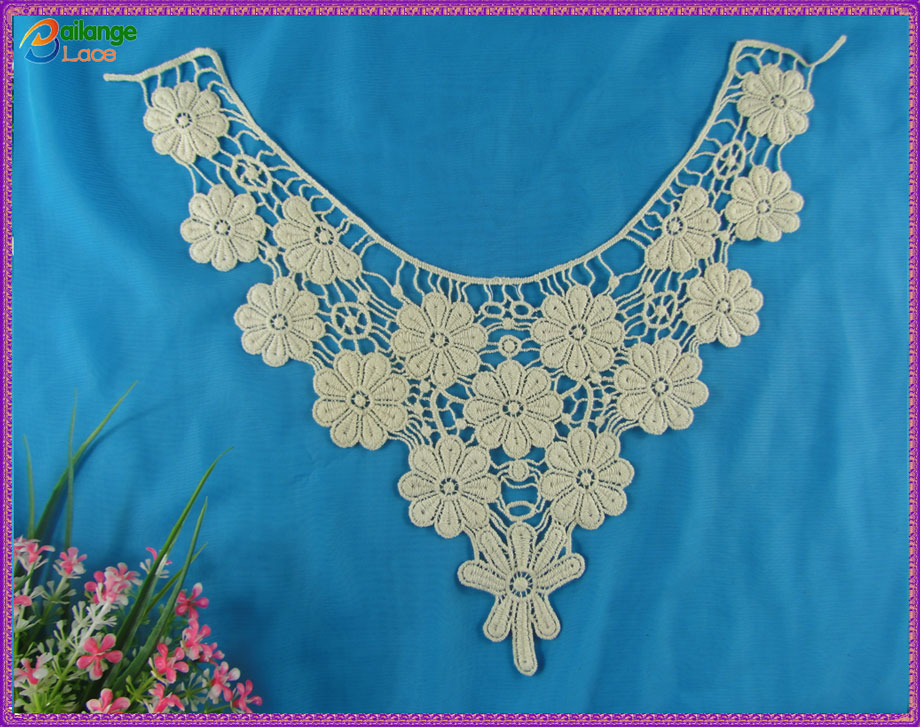 New fashion cotton embroidery neck patterns for dress