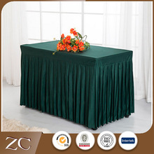 Factory wholesales 100%Polyester ruffled hotel table skirt pleated table cloth for party banquet