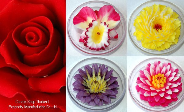 Carved Soap Roses, Orchid, Carnation