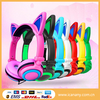 New popular wired earphone colorful cartoon earphone with led night light