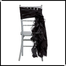 Black wedding chair sash with ruffles
