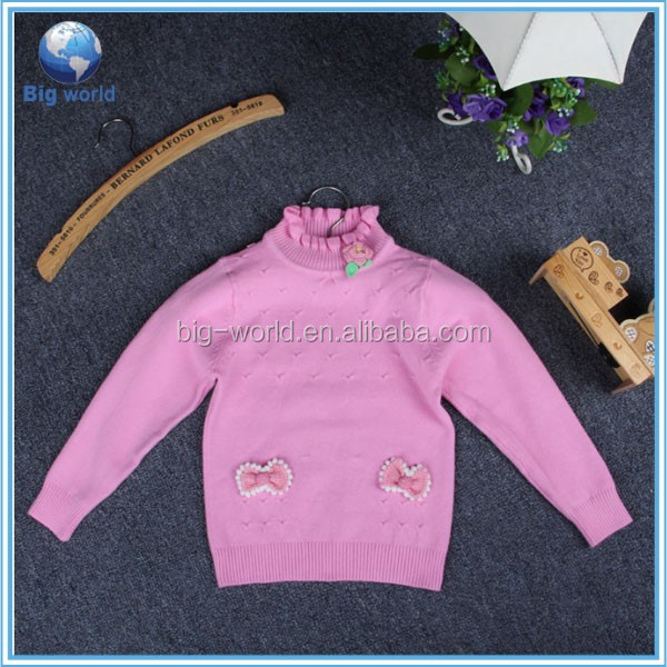 2015 Sweet Baby children's sweater cashmere Knit Sweater Designs For Girls