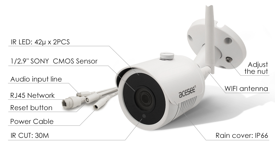 Acesee H.265 1080P Surveillance Wireless IP Camera, IP66 Outdoor Wireless Wifi Security Camera System