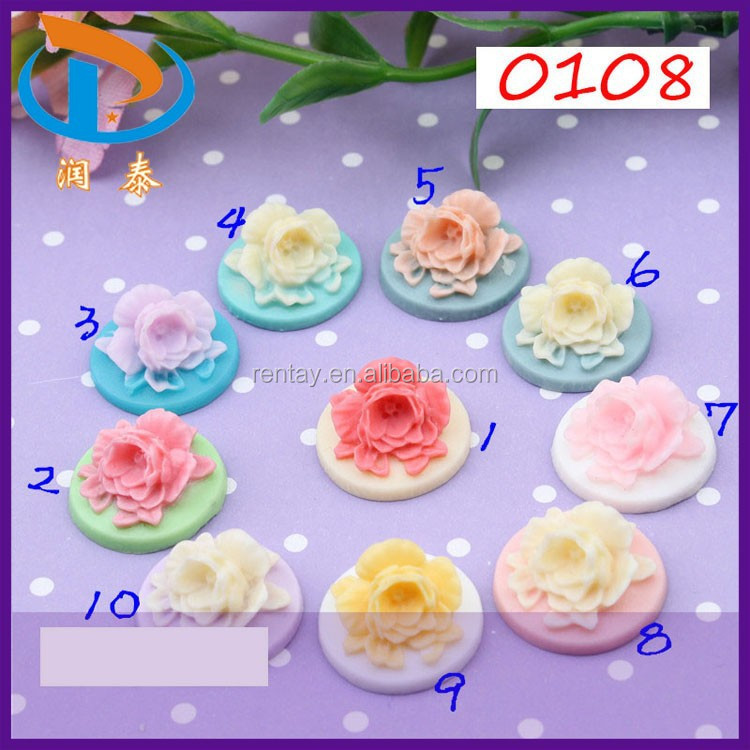 Bulk 18mm Phone Decoration Assorted Color Round Flatback Resin Rose Flower Cabochons