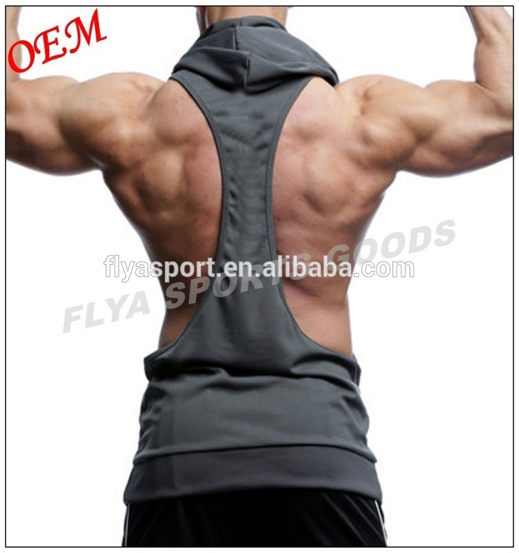 OEM Wholesale Custom Mens Plain Racerback Fitness Muscle Bodybuilding Gym Stringer Sleeveless Hoodie