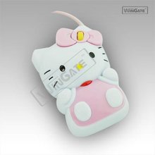 Cute Hello Kitty Style USB 800DPI Optical Mouse - White + Pink