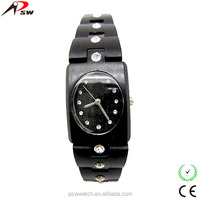 Trendy wrist wood watch luxury crystal wood watches vogue watch wooden for women
