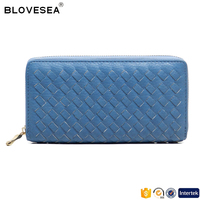 Manufacturer direct leisure style manual woven single zipper PU women leather wallet
