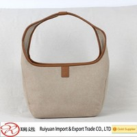 Alibaba best selling bag !!! 30*25cm Elegant European style beige Felt women's bag for promotion