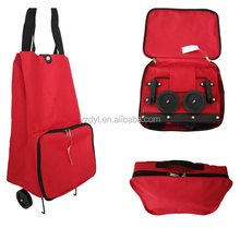 Portable 600D polyester foldable trolley wheeled shopping bag
