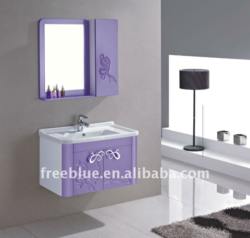 hot style PVC with curved flowers bathroom cabinet