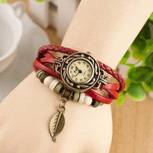 mixed color popular leaf charms wood beads beautiful ladies wrist leather quartz watches