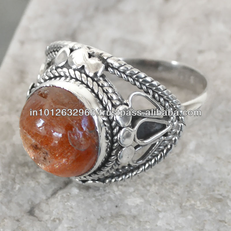 6.4 GM Natural Sun Stone Gem Stone 925 Sterling Original Silver Ring