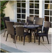 2017Hot sale rattan discount patio outdoor fiberglass wicker garden dining table furniture