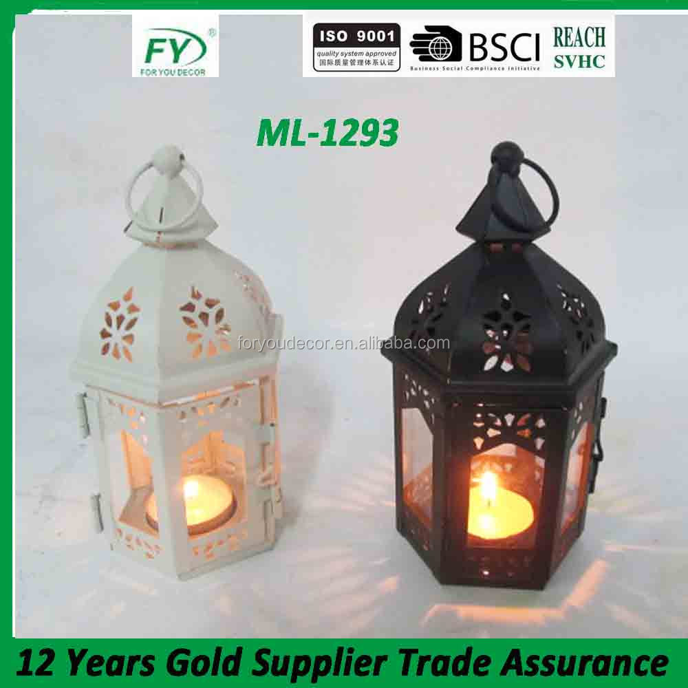 Mini table hanging moroccan hexagon table top and wedding decoration metal candle lantern with glass panels