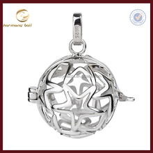 CYLZ0028 925 sterling silver rhodiumn plate 5 points star angel caller cage pendant