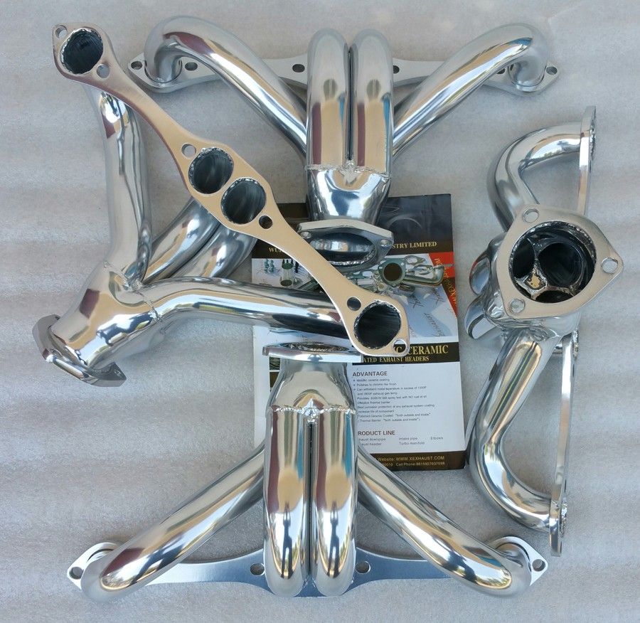 exhaust ceramic coating headers manifold header pipe Chevy SBC 350 BLOCK HUGGER HEAVY DUTY HEADER
