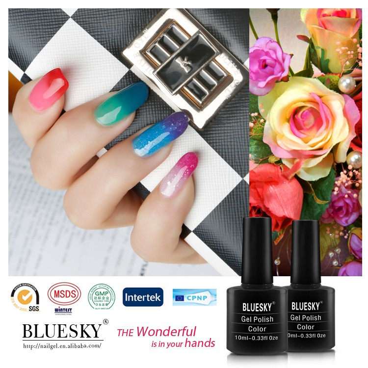 2016 Bluesky manufactures in use temperature change nail gel,cheap uv gel nail polish