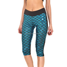 Cheap Price Yoga Leggings Sublimation Print Light Blue Mermaid Capri S130-288