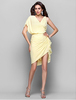 Teenage V-neck Yellow Chiffon Party Dress for Girls of 18 Years Old