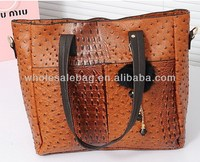 2014 Fashion Designer Pu leather Ostrich Pattern Handbag Wholesale Price Tote Bag For Ladies Women Girl In Stock Wholesale