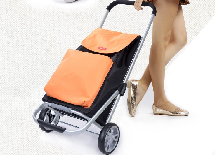 portable folding shopping bag with wheels